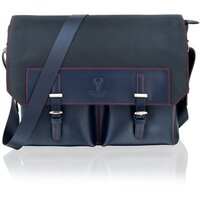 Woodland Leather Unisex Navy Blue 14.0 Messenger Bag