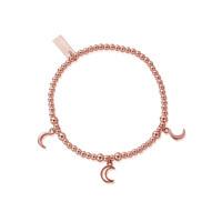Cute Charm Triple Moon Bracelet - Rose Gold