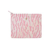 Sunrise Suede Textured Clutch Bag - Zebra