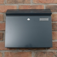 Anthracite Grey Steel Letterbox - The Salute