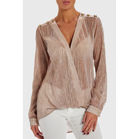 FOREVER UNIQUE STRIKE PINK DRAPED BLOUSE - PINK - 8
