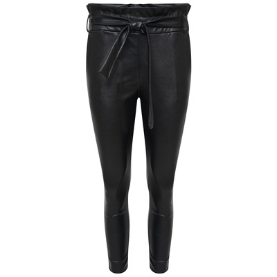 FAUX LEATHER PAPER BAG RELAXED FIT CROPPED TROUSER - BLACK - S