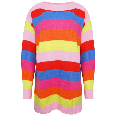 OVERSIZED STRIPED KNIT JUMPER - MULTICOLOURED - One Size
