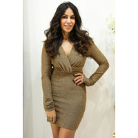 FOREVER UNIQUE ABIGAIL WRAP GLITTER DRESS - GOLD - 10