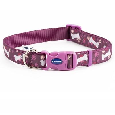 Ancol Purple Bone Adjustable Dog Fashion Collar