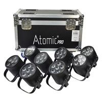 Eight Battery Powered LED Uplighters with Flight Case (RGB)