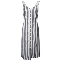 Eden Linen Dress - Blue Stripe - 8