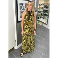 Calista Maxi Dress - Zebra Yellow & Brown