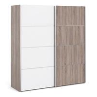 FTG &pipe; Verona Sliding Wardrobe 180cm in Truffle Oak with White and Truffle Oak doors with 2 Shelves