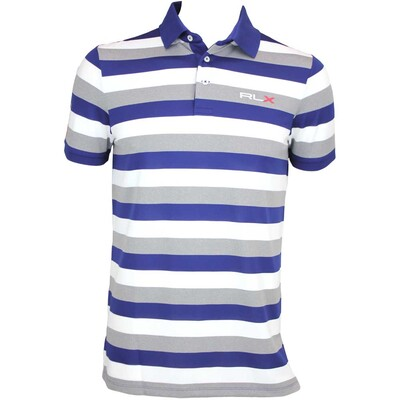 RLX 3 Colour Stripe Tech Pique Golf Shirt Everest Heather AW15
