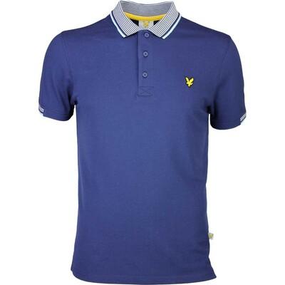 Lyle Scott Golf Shirt 8211 Teviot Stripe Collar Navy SS16