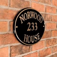 Brass Oval House Sign 40.5 x 28cm
