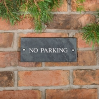 No Parking Sign in slate