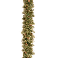 Glittery Gold Pine PVC Artificial Christmas Garland 9ft by National Trees