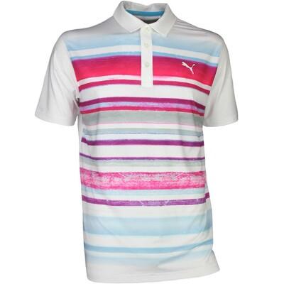 Puma Golf Shirt Washed Stripe White Bright Plasma SS17