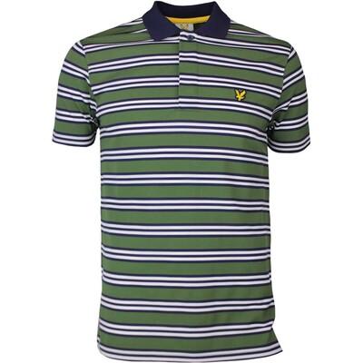Lyle Scott Golf Shirt Dunbar Stripe Cedar Green SS17