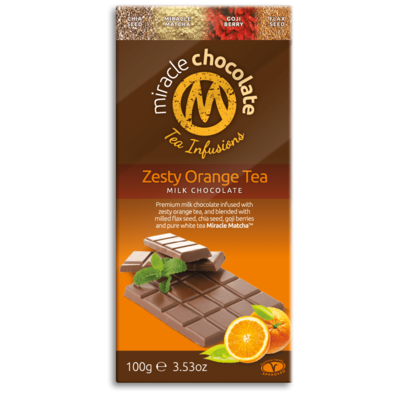 Miracle Matcha Zesty Orange Tea Milk Chocolate 100g