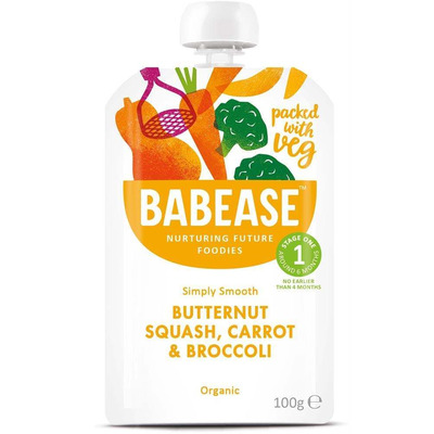 Babease Organic Butternut Squash, Carrot & Broccoli 100g - Stage 1 - Box of 8