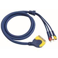 Scart Plug To 2 RCA Phono Male & 1 RCA Phono Female 1.5 M