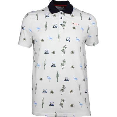 Ted Baker Golf Shirt Oneputt Print Polo White SS18