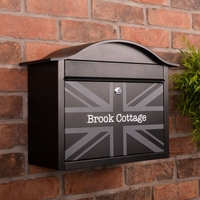 PERSONALISED Black Dublin Postbox With British Union Flag Design