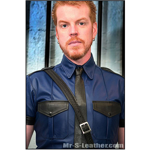 Mr S Leather Police Tee Short Sleeves Blue with Black - Large Preview