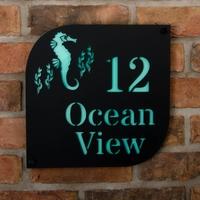Seahorse Motif Coastal Acrylic House Sign