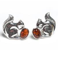 Image of Squirrel Stud Earrings in Silver and Amber - Default Title