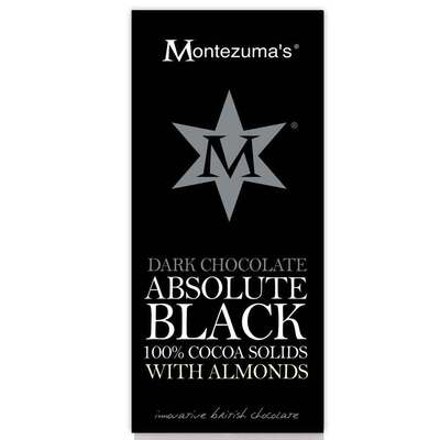 Montezumas Absolute Black 100% Cocoa with Almonds 100g