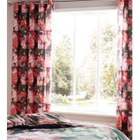Catherine Lansfield Dramatic Floral Lined Eyelet Curtains 66 x 72 Inch