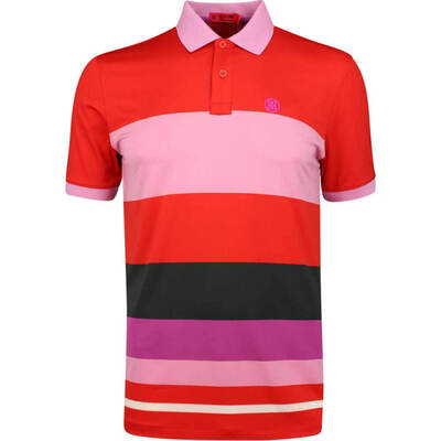 GFORE Golf Shirt Variegated Stripe Polo Poppy Red SS19