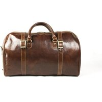 Classic Centura Luxurious Italian Leather Holdall / Weekend / Duffle Bag - Brown