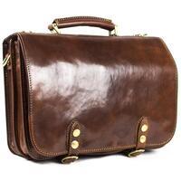 Classic Range Italian Luxury Leather Flap-Over Satchel Briefcase / Messenger Bag - Brown