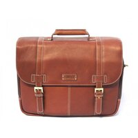 Cortez Colombian Leather 15.6 Inch Laptop Briefcase / Messenger Bag - Cognac