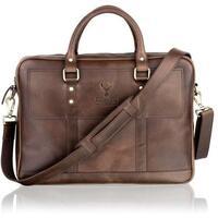 Woodland Leather Unisex Slim Messenger Bag / Tote Bag - Brown