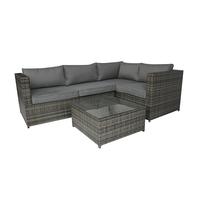 Charles Bentley Rattan Corner Sofa & Coffee Table - Grey