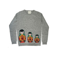 Russian Doll Cashmere Jumper - Mid Grey