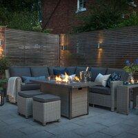 Kettler Palma Corner Rattan Outdoor Sofa Set with Firepit Table