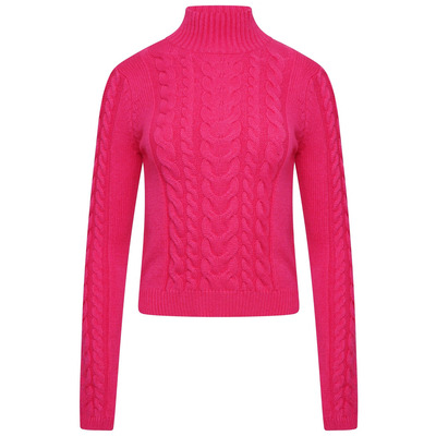 POLO NECK CABLE KNIT JUMPER - FUCHSIA PINK - One Size
