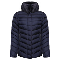 RINO & PELLE RINSKE FAUX FUR COLLAR QUILTED JACKET - NAVY BLUE - 10