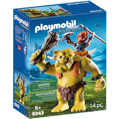 Playmobil Knights Dwarf Giant Troll With Fighter With Removeable Backpack