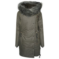 Image of Alena Faux Fur Hooded Parka Coat - Dusty Olive - 8