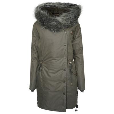 Alena Faux Fur Hooded Parka Coat - Dusty Olive - 8