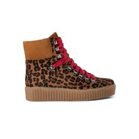 Agda Leopard Lace Up Boots - Brown