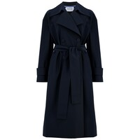 Oversized Water Repellent Trench Coat - Dark Blue