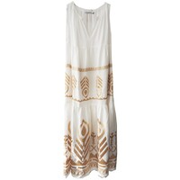 Embroidered Linen Dress - White & Gold
