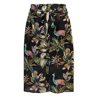 Elise Printed Silk Skirt - Peacocks Navy