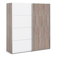 FTG &pipe; Verona Sliding Wardrobe 180cm in Truffle Oak with White and Truffle Oak doors with 5 Shelves