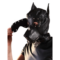 Leather Dog Hood with Detachable Blindfold