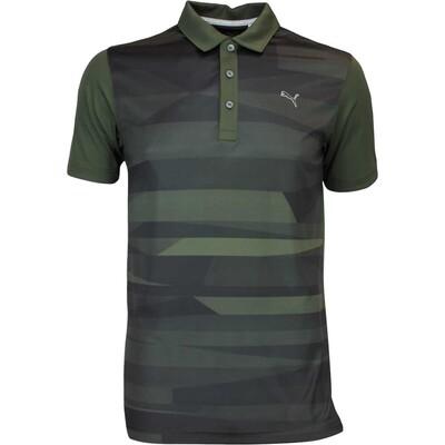 Puma Golf Shirt Ice Stripe Forest Night AW16